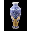 Ваза из голубой парчи с золотыми китайскими фигурками H 57см