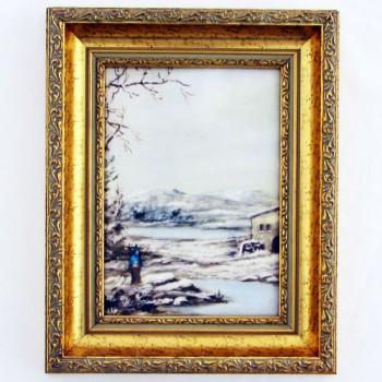 Картина малая Зима в золотом багете