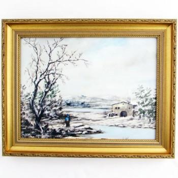 Картина Зима в золотом багете