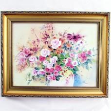 Картина Розовые розы в золотом багете