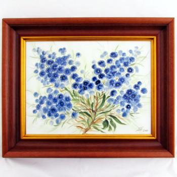 Картина Синие цветы в деревянном багете