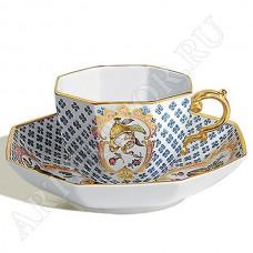 Чашка с восьмиугольным блюдцем, мозаика из цветов