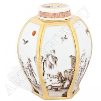 Шкатулка с китайским узором для чая Мейсен
