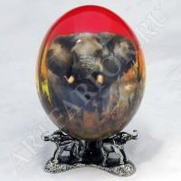 Декоративное страусиное яйцо с подставкой