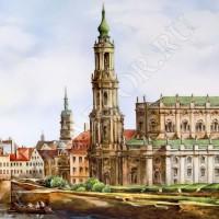 """Картина на фарфоре """"Вид Дрездена"""""""